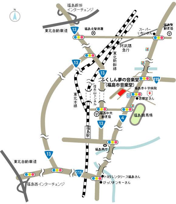 福島市インターからの地図